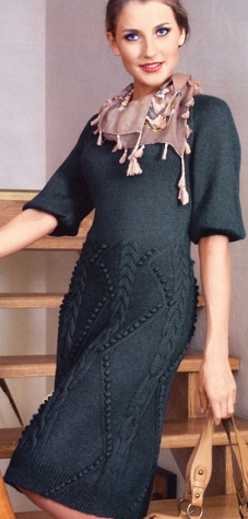 Зимние платье спицами