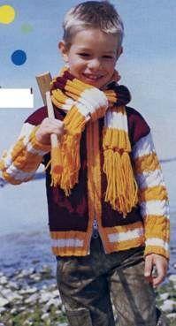 Вязаный жакет с узорными полосатыми рукавами и шарф размеры: 116 (128)