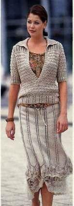 Вязаный бежевые пуловер и юбка размеры: 38/40 (42/44)