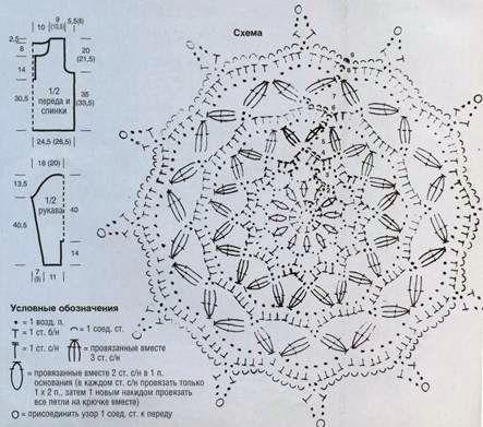 Вязаный пуловер с кружевной розеткой размеры: 36/38 (40/42)