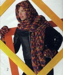 Вязаный шарф-капюшон и варежки