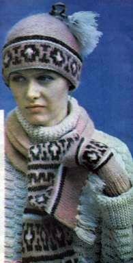 Комплект: шапочка, шарф и варежки