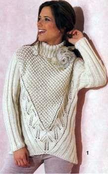 Вязаный пуловер с высоким воротником размеры: 36-40