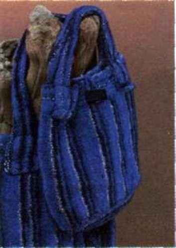 Вязаная синяя сумочка размеры: 35 х 31 см (без ручек)