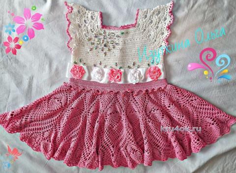Детское платье крючком. Работа Ольги Изуткиной вязание и схемы вязания