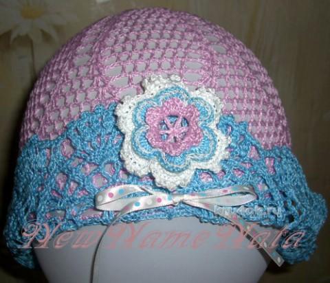Розовая шляпка для девоки. Работа NewNameNata вязание и схемы вязания