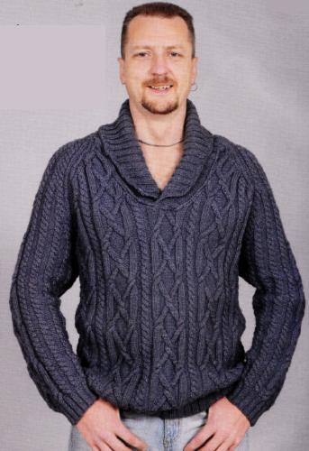 Мужской пуловер с шалевым воротником, вязаный спицами