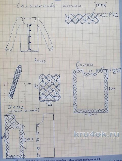 Велюровая кофточка для девочки. Работа Ольги Домасовой вязание и схемы вязания