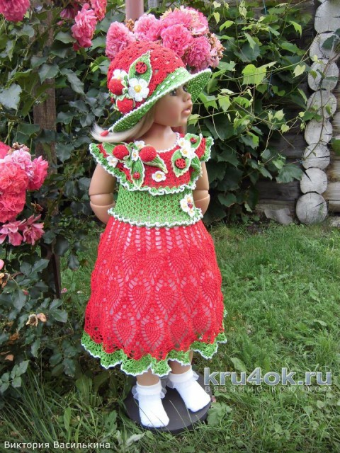 Вязаное платье для девочки Земляничка от Виктории Василькиной вязание и схемы вязания