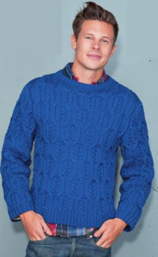 Мужской голубой пуловер, вязаный спицами
