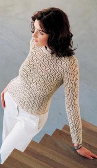 Вязание спицами красивого пуловера с ажурным узором
