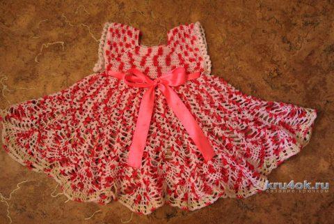 Детское платье крючком. Работа Марины вязание и схемы вязания