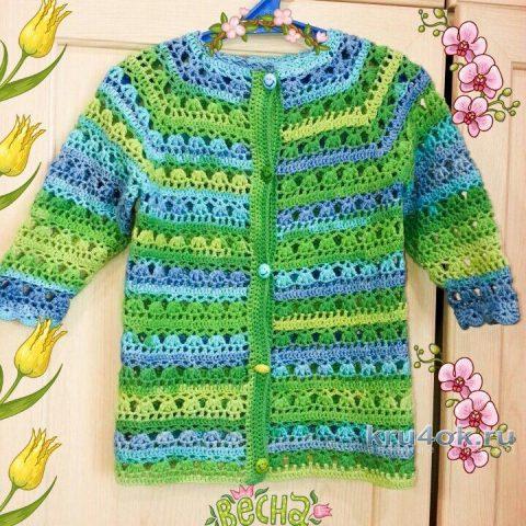 Ажурная кофточка для девочки. Работа Ирины вязание и схемы вязания
