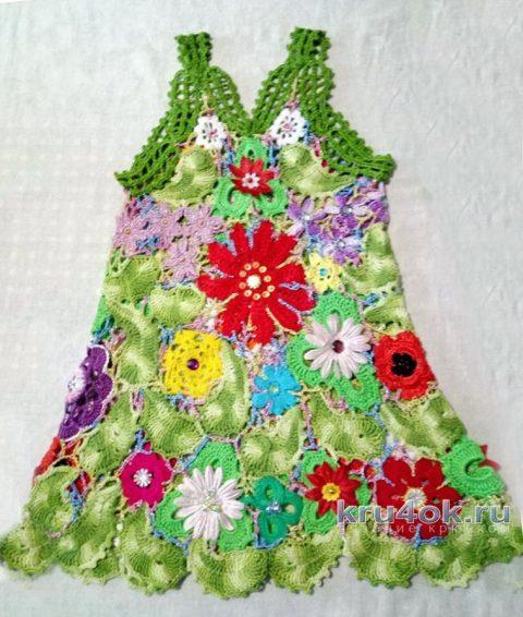 Платье для девочки крючком. Работа Нины Яснило вязание и схемы вязания