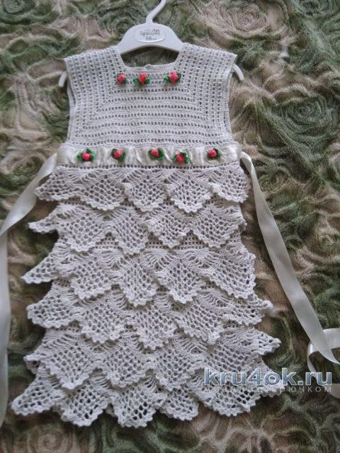 Платье Белое облачко для девочки 1,5-2 лет вязание и схемы вязания