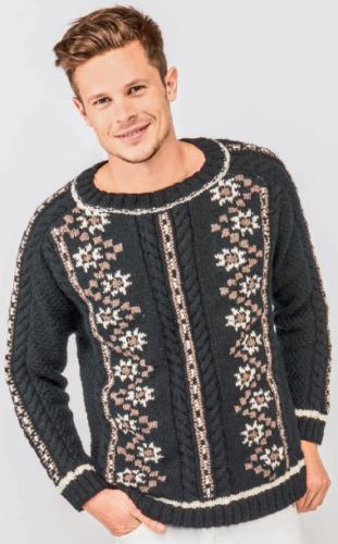 Мужской пуловер с орнаментом, вязаный спицами