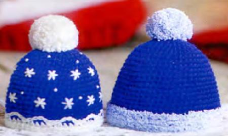 Мужская и женская новогодние шапки