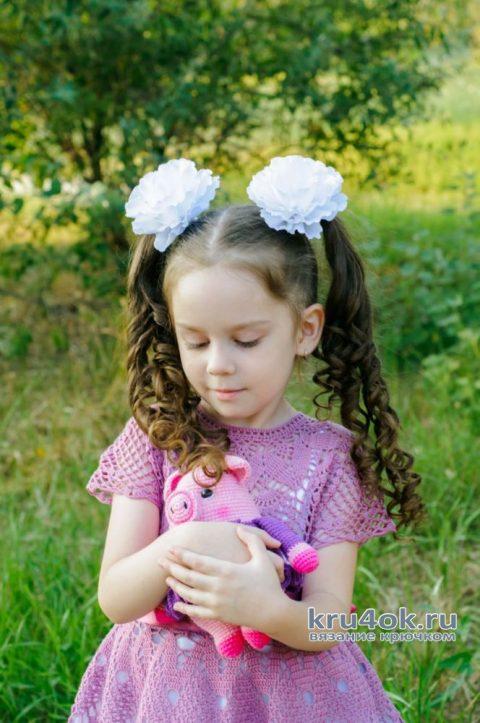 Платье для девочки крючком. Работа AlenaVerkhovod вязание и схемы вязания
