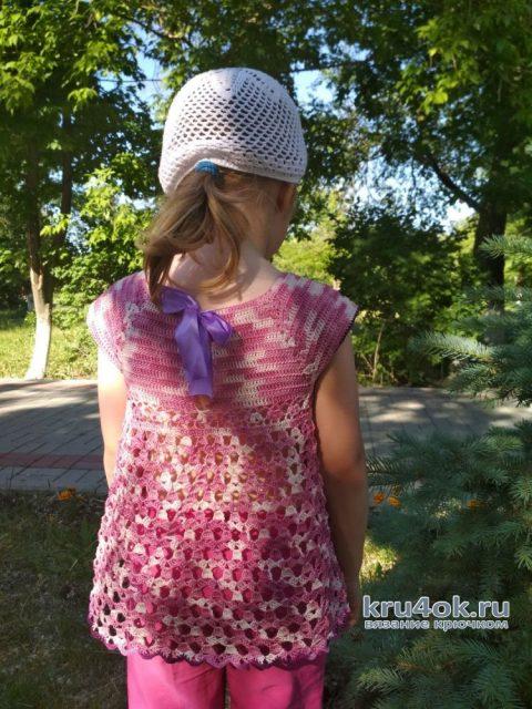 Вязаная летняя кофточка для девочки. Работа Александры Миличенко вязание и схемы вязания