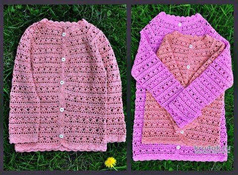 Вязаные ажурные кофточки для девочек. Работы Любови вязание и схемы вязания