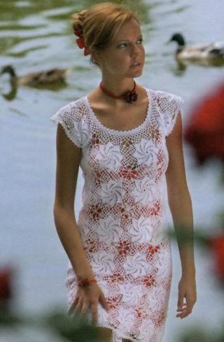 Платье крючком схема.