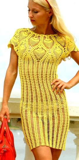 Вязание ажурного платья крючком