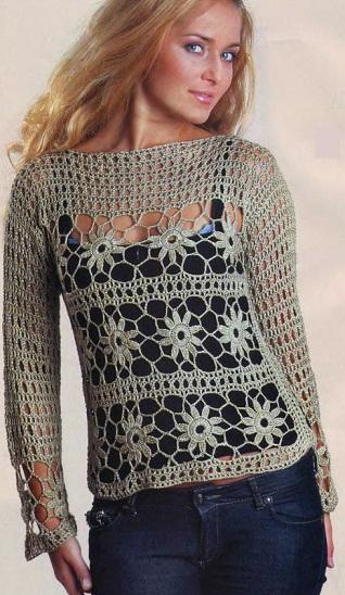 Пуловер крючком - схема