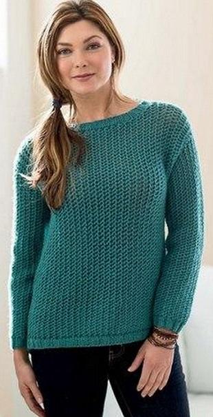 Стильный пуловер спицами
