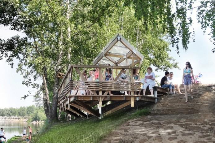 Терраса у воды на острове Татышев