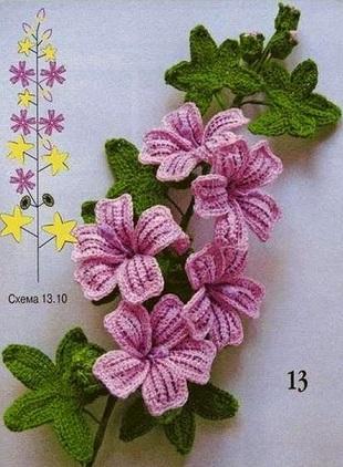 Веточка цветов крючком