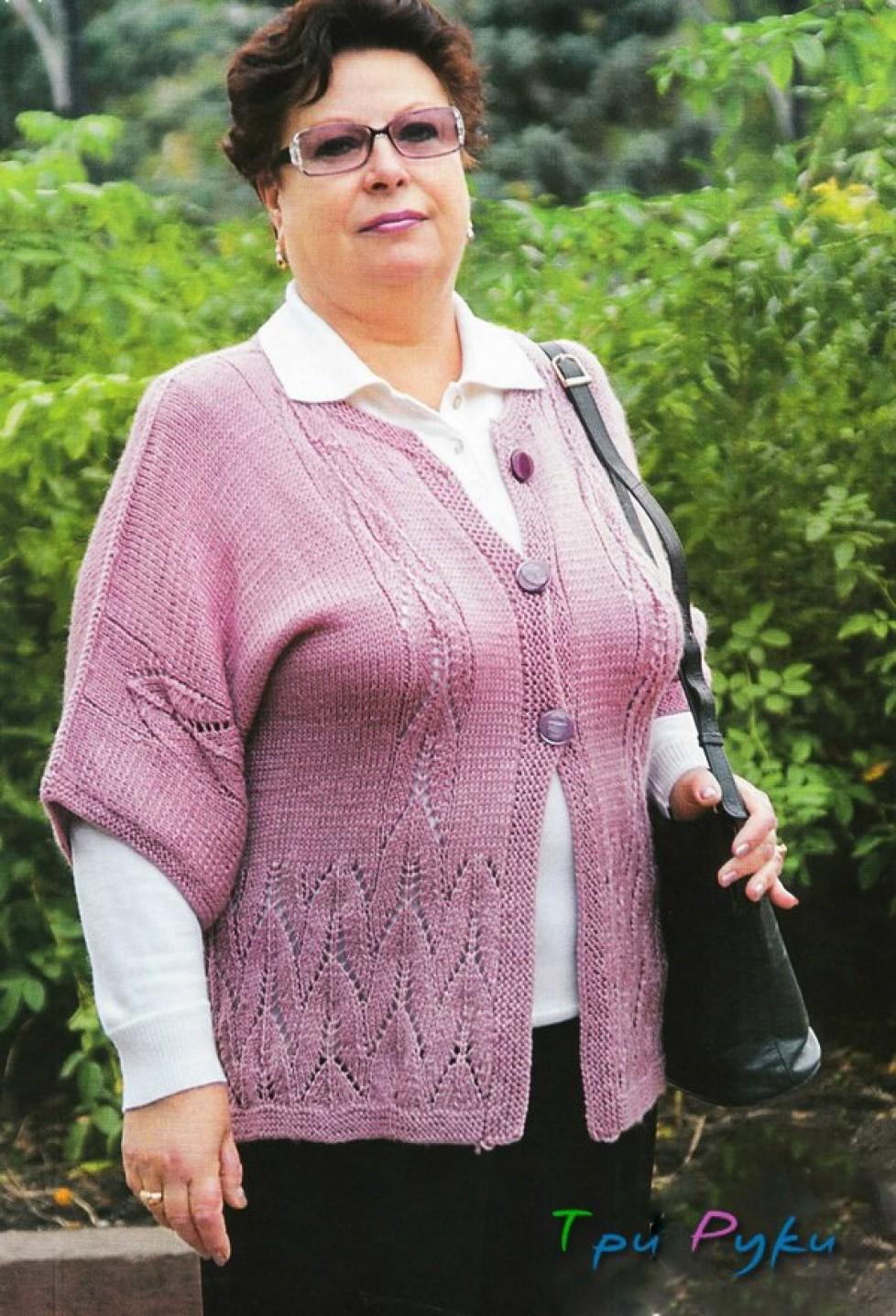 Вязание жилетки вязание кардигана для полных женщин