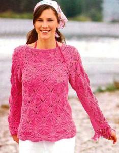 Розовый ажурный пуловер