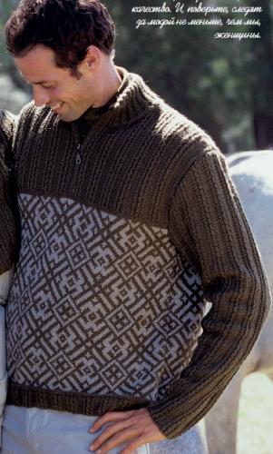 Мужской жаккардовый пуловер, вязаный спицами