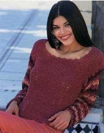 Вязаный пуловер с полосатыми рукавами размеры: 34/36 (38/40) 42/44