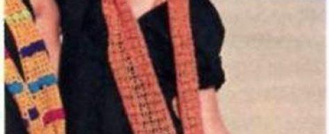 Вязаные шарф и сумка — мешок размеры: шарф 22 х 200 см; сумка 28 х 40 см