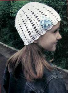 Вязаная ажурная детская шапочка размер: 54
