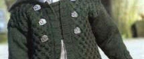 Вязаный жакет с узором «плетенка» размеры: 80 (92) 104