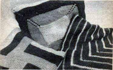 Вязаная наволочка, выполненная частичным вязанием