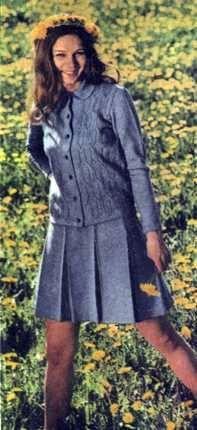 Вязаный костюм для девочки разм. 42 44