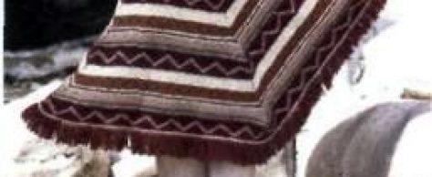 Вязаное пончо с жаккардовыми узорами размеры: 36-44