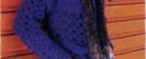 Вязаное лиловое пальто и меланжевый шарф размеры: 36-40