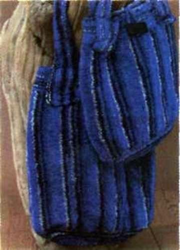 Вязаная синяя хозяйственная сумка размеры: 36 х 37 см (без ручек)