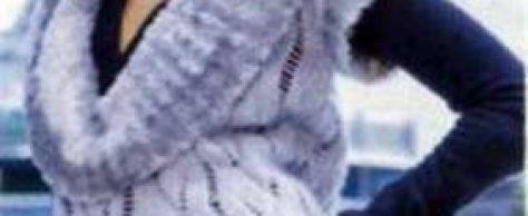 Вязаный жилет с «меховым» воротником и шапка размеры: 32/34 (38/40) 44/46