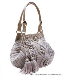 Стильная сумка, вязанная спицами