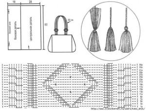 стильная сумка, вязаная спицами1