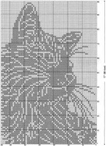 Филейное вязание, подушка Кот-Баюн