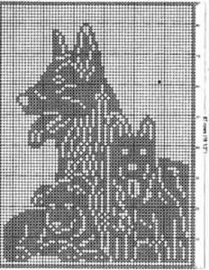 Филейное вязание, подушка Собака со щенками