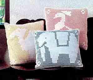 Филейное вязание, серия подушек Зоопарк