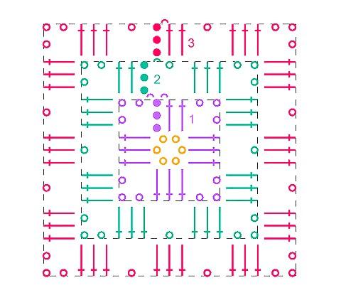 Схемы вязания крючком квадрата для начинающих с описанием