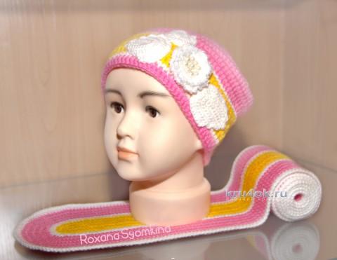 Шапочка и шарф для девочки. Работы Роксаны вязание и схемы вязания